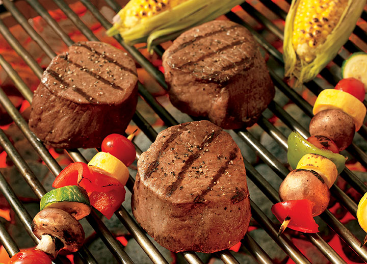 Ribeye Steaks and Vegetable Kabobs