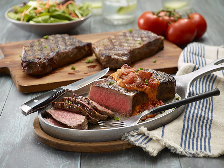 New York Strip Steaks With Smoky Bacon and Tomato Jam